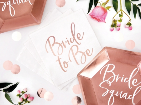 Servetele Bride to be, rose gold, 33x33cm (1 pach / 20 buc.)1