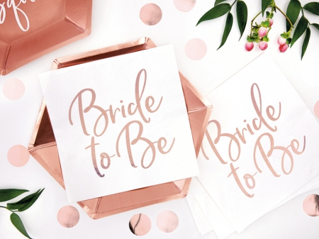 Servetele Bride to be, rose gold, 33x33cm (1 pach / 20 buc.)0