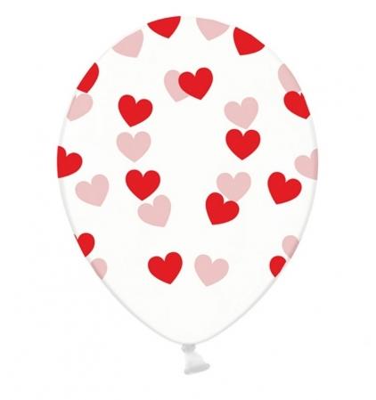 Set 10 baloane imprimate Inimioare rosii, 30cm0