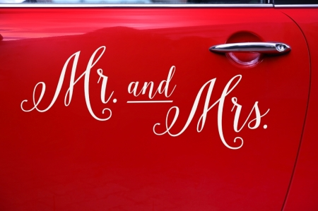 Wedding day sticker masina nunta - Mr and Mrs2