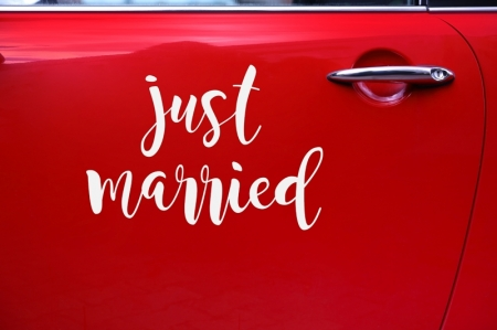 Wedding day sticker pentru masina nunta  - Just married, 33x45cm2