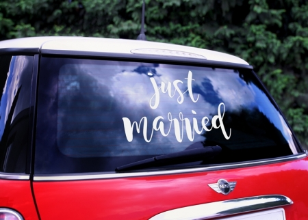Wedding day sticker pentru masina nunta  - Just married, 33x45cm1