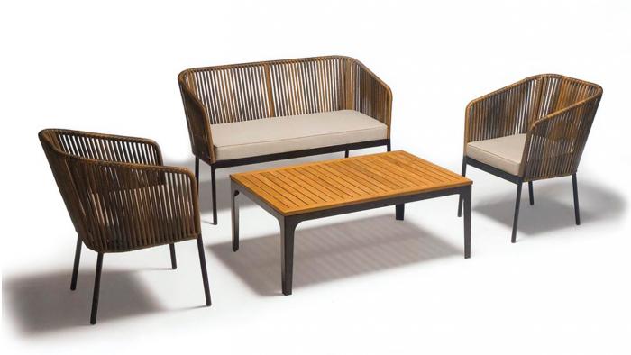 Set terasa/outdoor canapea fotolii si masa structura metalica BARI 0