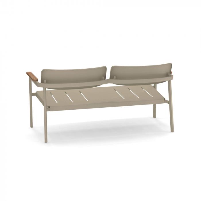 Canapele exterior 2 locuri metalice cu insertii lemn SHINE 2
