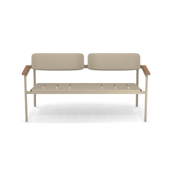 Canapele exterior 2 locuri metalice cu insertii lemn SHINE 1