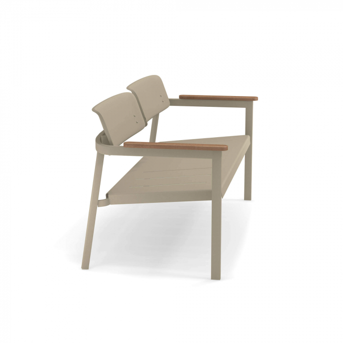 Canapele exterior 2 locuri metalice cu insertii lemn SHINE 3