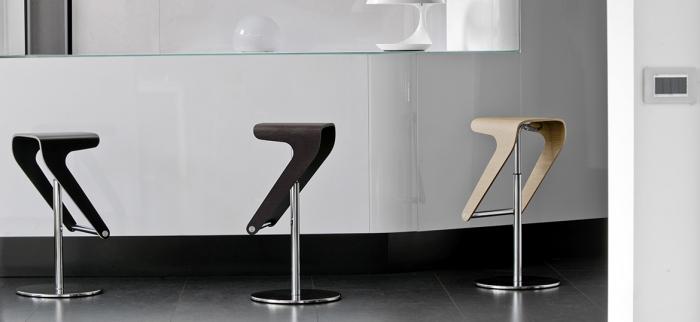 Scaune bar moderne ajustabile structura metal sezut lemn WOODY 495 5