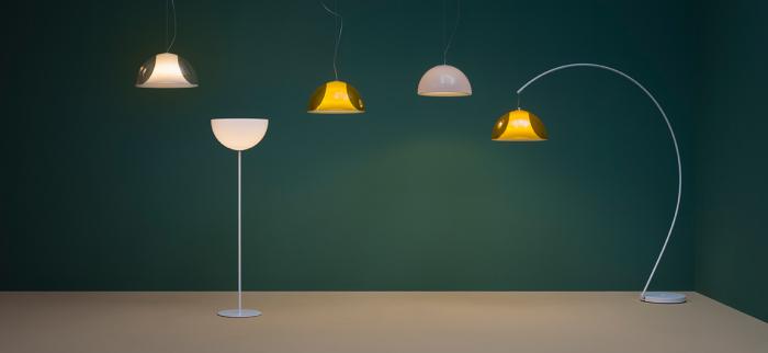 Lampa de podea cu picior arc si abajur din policarbonat L002T/BA [2]