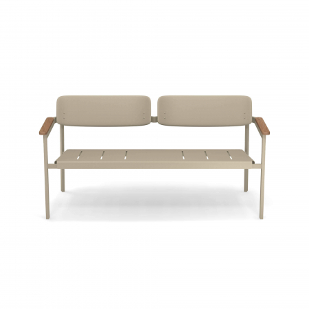 Canapele exterior 2 locuri metalice cu insertii lemn SHINE1