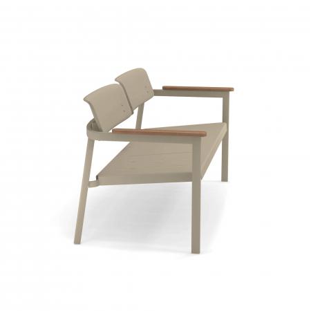 Canapele exterior 2 locuri metalice cu insertii lemn SHINE3
