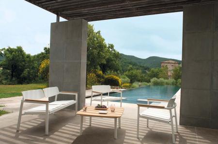 Fotolii lounge exterior metalice cu insertii lemn SHINE5