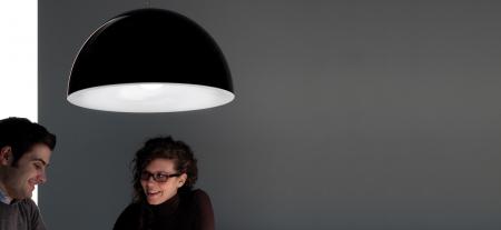 Lampa suspendata cu abajur din policarbonat L002S/BA14