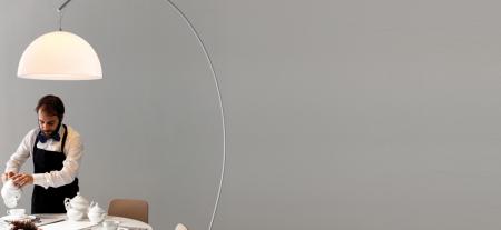 Lampa de podea cu picior arc si abajur din policarbonat L002T/BA [6]