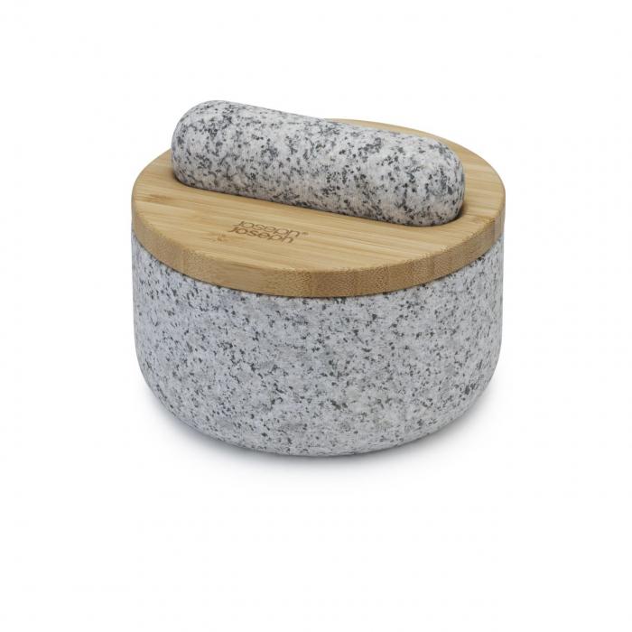 Mojar cu pistil granit si capac bambus - Joseph&Joseph 6