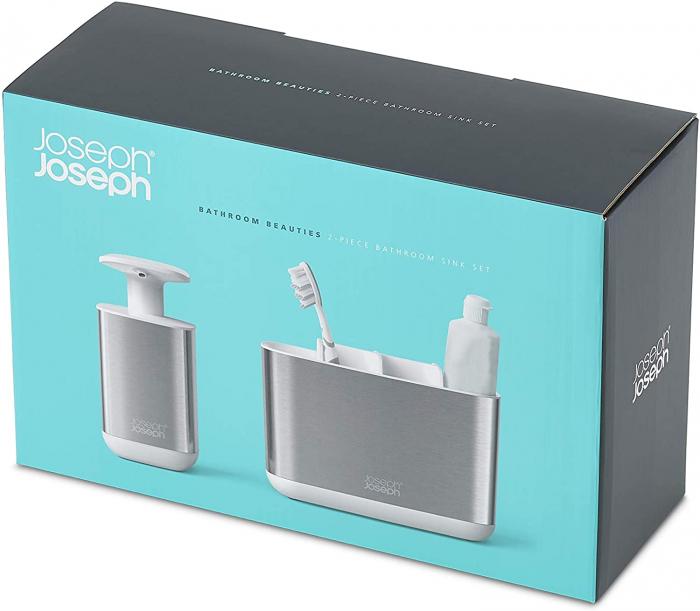 Set din 2 piese dispenser de săpun  și Caddy pentru periuță de dinți 7