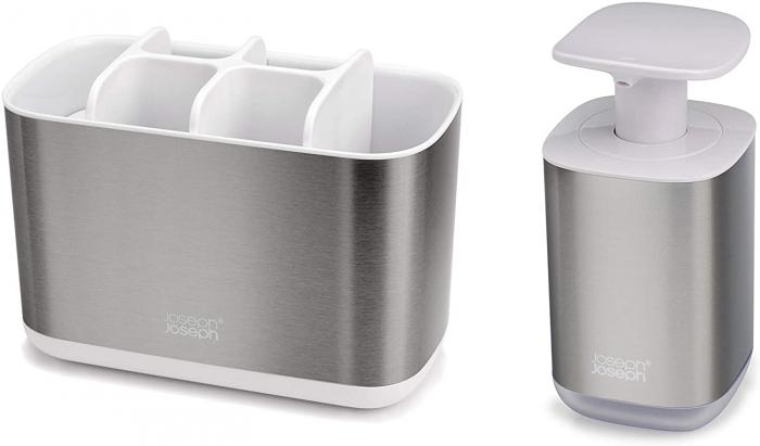 Set din 2 piese dispenser de săpun  și Caddy pentru periuță de dinți 0