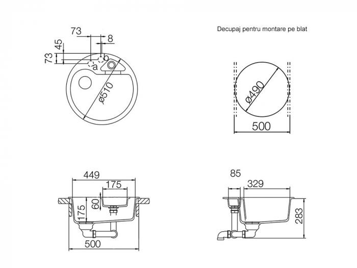 Chiuveta Granit Schock Classic R-100 Nero Cristalite 510 x 510 mm cu Sifon Automat [3]