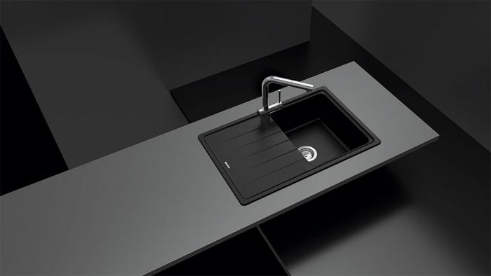 Chiuveta bucatarie Schock Element D-100S Cristalite Alpina 780 x 500 mm, granit, reversibila, montare pe blat, alb 1