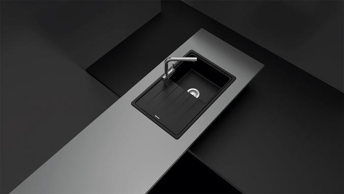 Chiuveta bucatarie Schock Element D-100S Cristalite Alpina 780 x 500 mm, granit, reversibila, montare pe blat, alb 2