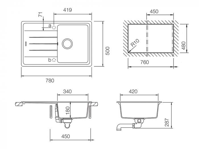 Chiuveta bucatarie Schock Element D-100S Cristalite Alpina 780 x 500 mm, granit, reversibila, montare pe blat, alb 3