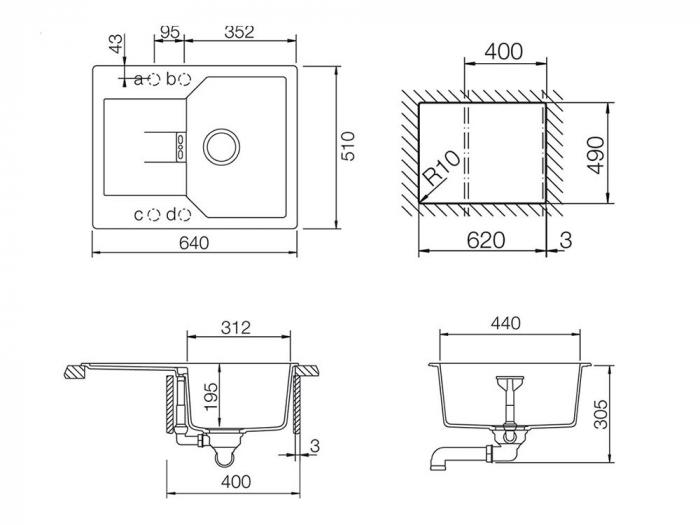 Chiuveta Granit Schock Manhattan D-100XS Nero Cristalite 640 x 510 mm [4]