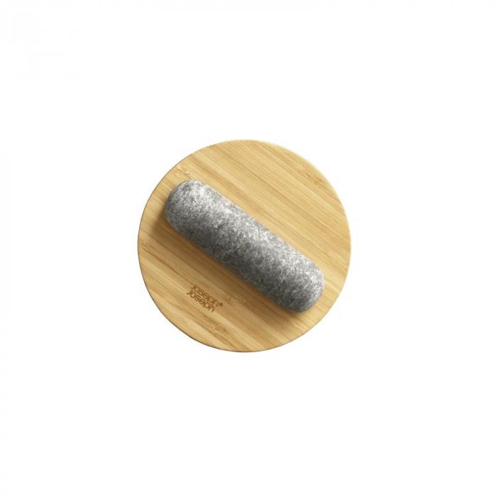Mojar cu pistil granit si capac bambus - Joseph&Joseph 4