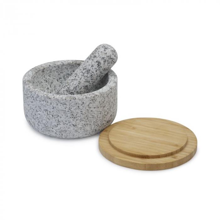 Mojar cu pistil granit si capac bambus - Joseph&Joseph 2