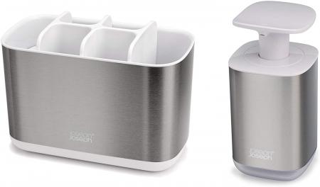 Set din 2 piese dispenser de săpun  și Caddy pentru periuță de dinți0