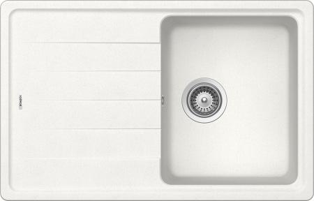 Chiuveta bucatarie Schock Element D-100S Cristalite Alpina 780 x 500 mm, granit, reversibila, montare pe blat, alb0