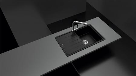 Chiuveta bucatarie Schock Element D-100S Cristalite Alpina 780 x 500 mm, granit, reversibila, montare pe blat, alb1