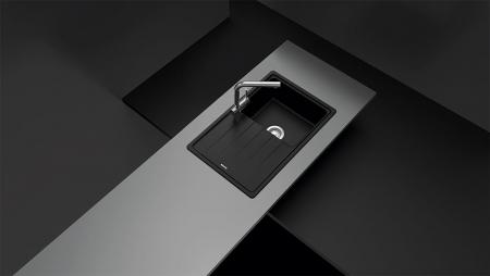 Chiuveta bucatarie Schock Element D-100S Cristalite Alpina 780 x 500 mm, granit, reversibila, montare pe blat, alb2