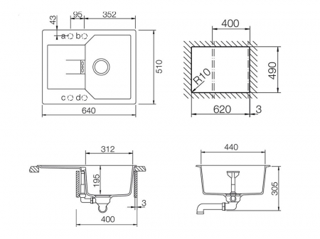 Chiuveta Granit Schock Manhattan D-100XS Alpina Cristalite 640 x 510 mm [4]