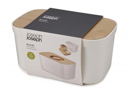 cutie Pentru Paine cu Capac Tocator Alb - Joseph&Joseph0