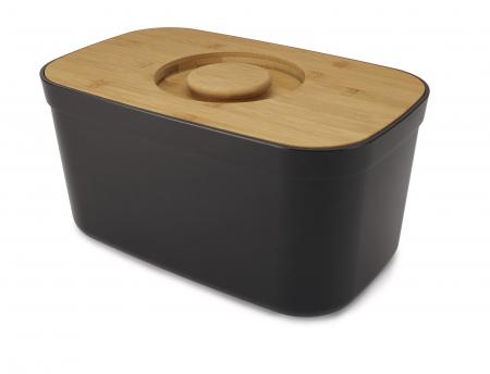 cutie Pentru Paine cu Capac Tocator Negru - Joseph&Joseph [0]