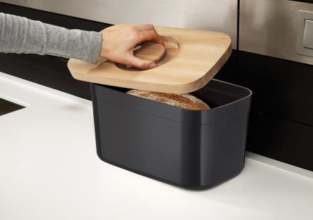 cutie Pentru Paine cu Capac Tocator Negru - Joseph&Joseph [1]