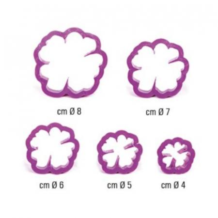Decupatoare pentru fondant, Trandafir salbatic, set 5 buc1