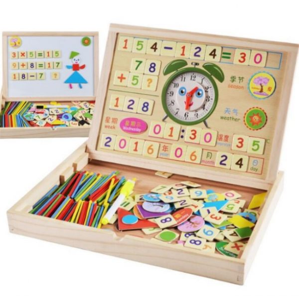 Tăbliță magnetică 4 în 1: Cifre și operații aritmetice, Puzzle magnetic, Ceas și whiteboard [1]