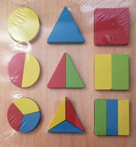 Puzzle din lemn Forme geometrice Fracții [1]