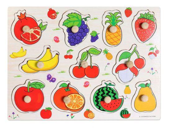 Puzzle încastrat din lemn cu mâner Fructe [0]