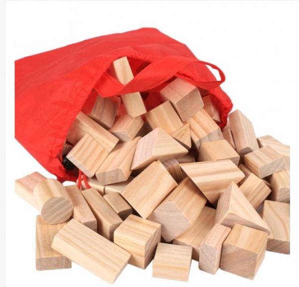 Set de cuburi pentru construit din lemn natur 100 de piese [4]