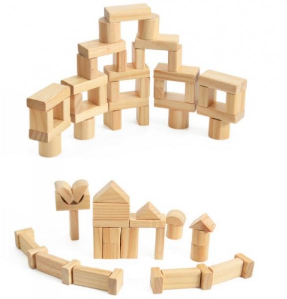 Set de cuburi pentru construit din lemn natur 100 de piese [3]