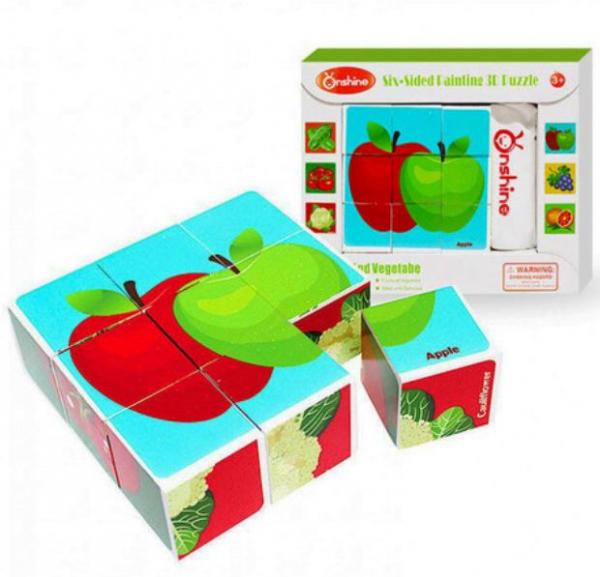 Cuburi cognitive din lemn Fructe și Legume [0]