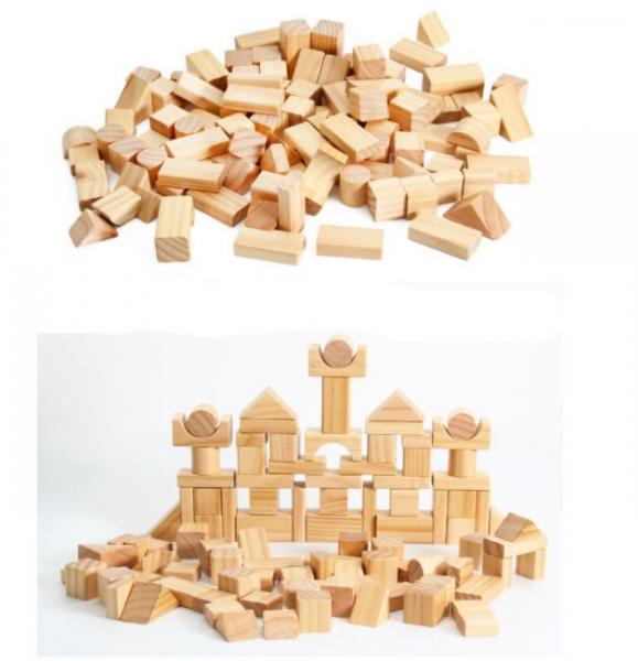 Set de cuburi pentru construit din lemn natur 100 de piese [5]
