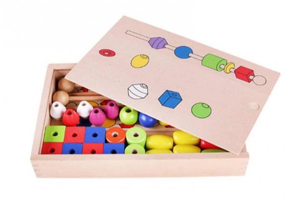 Joc tip Montessori din lemn - Înșiră bilele pe bețe [3]