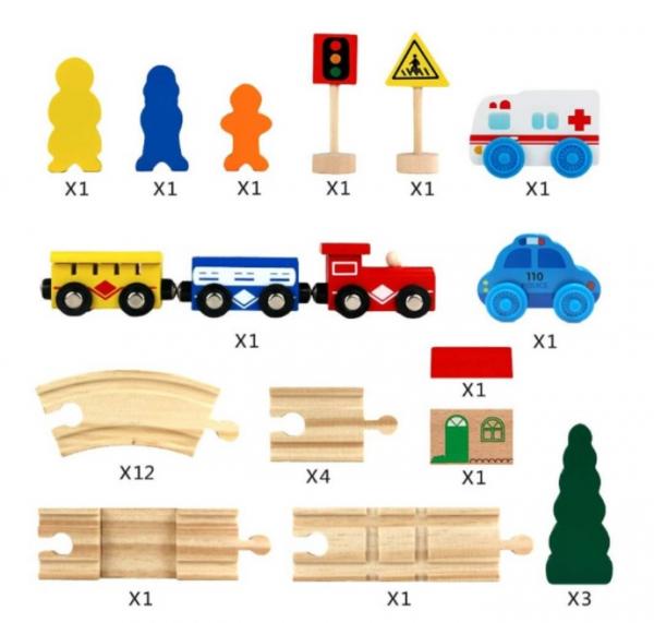 Set de șine din lemn - Trenuleț magnetic [2]