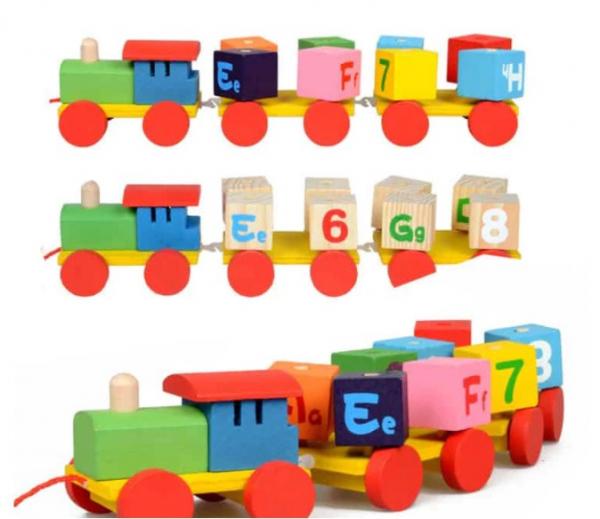 Trenulet din lemn - cuburi litere si cifre [1]
