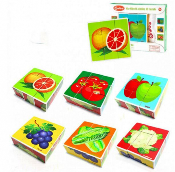 Cuburi cognitive din lemn Fructe și Legume [1]