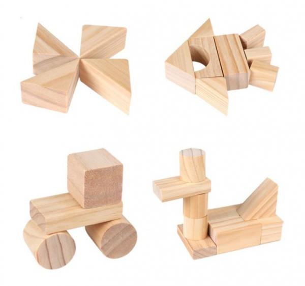 Set de cuburi pentru construit din lemn natur 100 de piese [1]