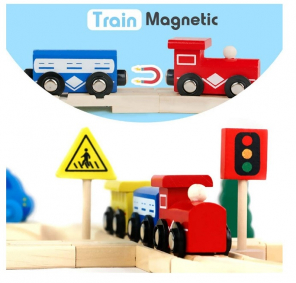 Set de șine din lemn - Trenuleț magnetic [3]