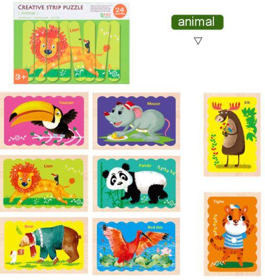 Puzzle cu piese bețișoare din lemn, Creative Puzzle Stripes, Animăluțe [1]